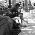 poor man on bench nyc