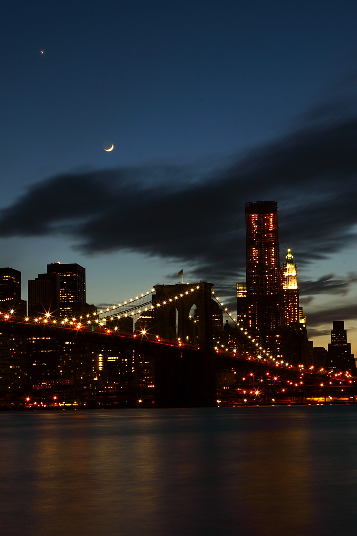 nyc architecture brooklyn bridge moon