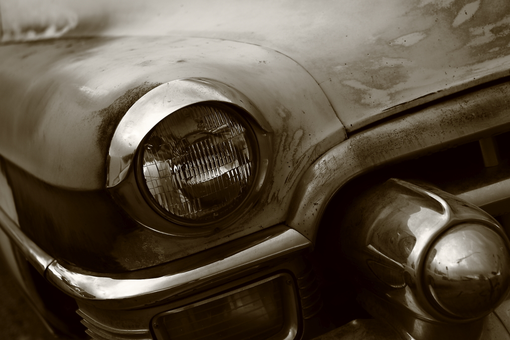 old car bumper headlight