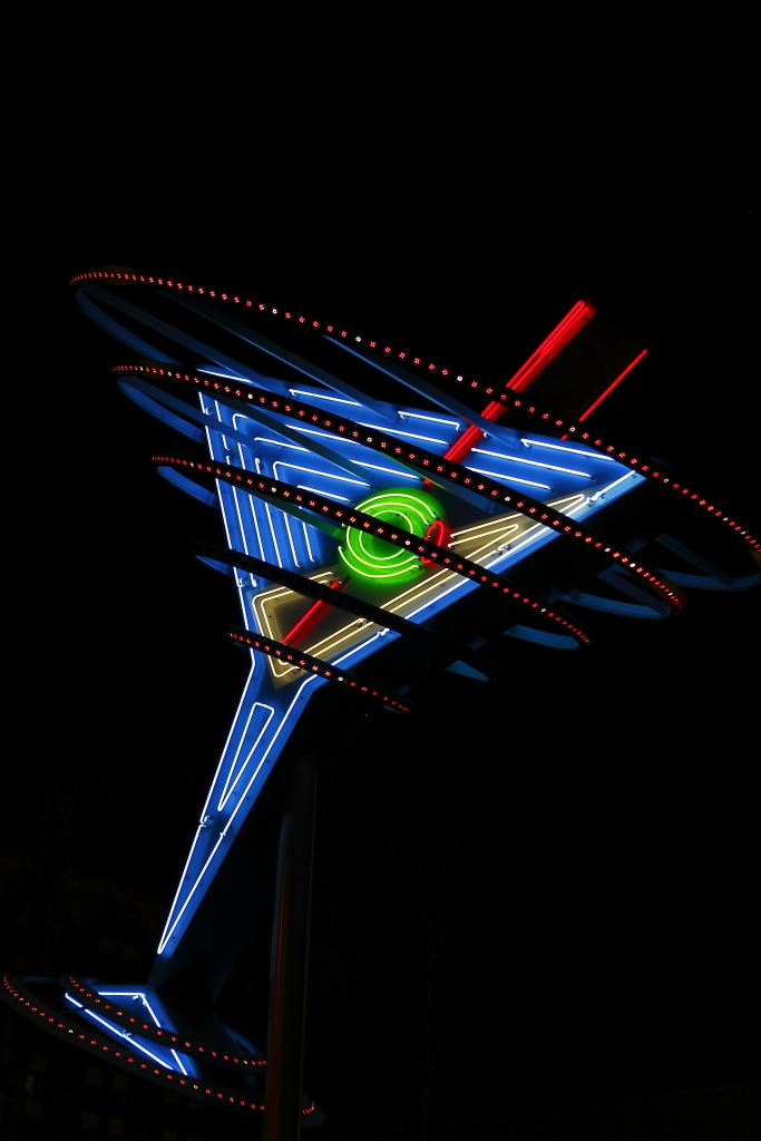 las vegas neon sign martini glass